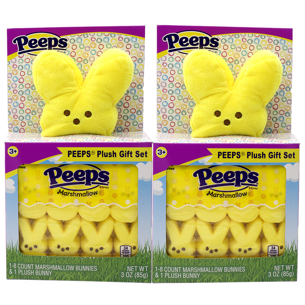 PEEPS Bunny Plush Gift Set, Yellow, 2 pk
